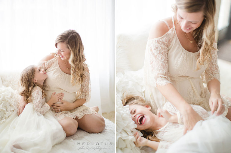 Maternity photos - mother and older child