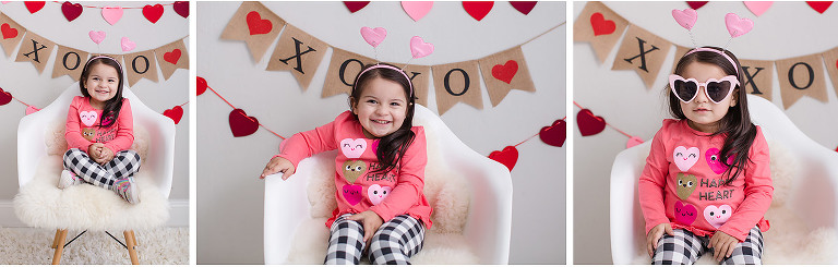 Valentine mini photo session girl wearing heart sunglasses